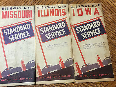 Vintage Lot Of (3) Standard Service Oil Company Road Maps Nice Look!