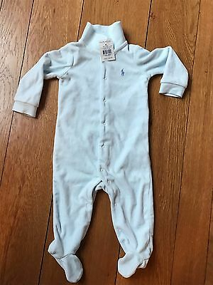 Ralph Lauren Polo Infant Boy Baby Blue Bunting Sleeper Outfit One peice NEW 3 6M