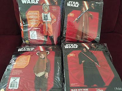 4x Star Wars Costume LOT - EWOK & X-WING FIGHTER PILOT & JEDI & SITH ROBE Rubies