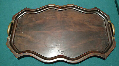 Vintage hand carved wooden tray with brass handles