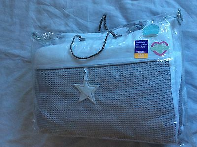 Clair De Lune Silver Lining Bedding Cot Bed Bumper & Quilt 2 Piece Set Brand New