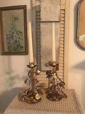 Vintage Italian Gold Leaf Roses Tole Candle Holders