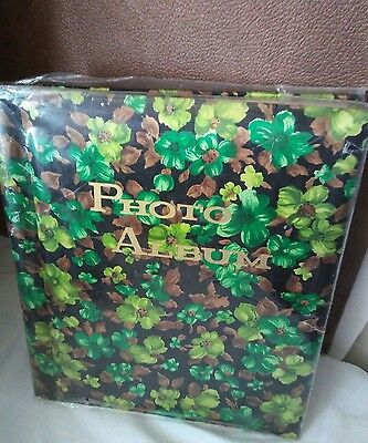 Vintage used Photo Album Retro Kitsch green brown Floral Mid Century old stock
