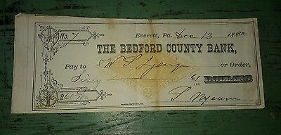1880 Bedford Co PA Bank Check Lysinger