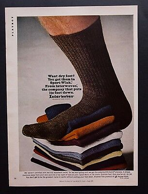 1968 Vintage Print Ad | INTERWOVEN SOCKS | 1960s Men's Fashion Style Colorful