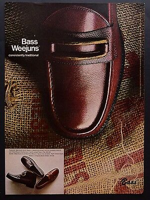 1968 Vintage Print Ad | BASS WEEJUNS | 1960s Men's Fashion Style Shoes