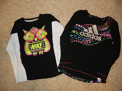 Adidas ~ Nike ~ Athletic Top Lot ~ Girls ~ Size 5 Black Pink Silver Purple ~ Owl