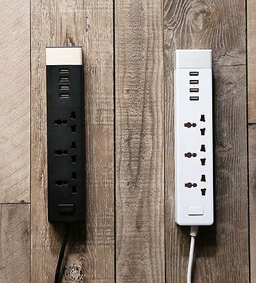 Authentic REMAX 4 USB Three-Plug Power Strip Surge Protector Smart Charging