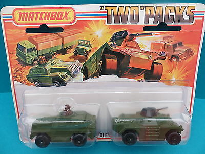 """Matchbox TP 13 """"Two""""Packs Superfast Military Scout und Armoured Car 1975 MIB"""