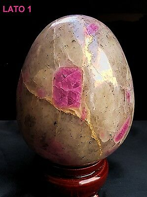 ► RARO RUBINO E QUARZO UOVO CM 7.07 x 5.81 - KG. 0.343 INDIA ^ RUBY QUARTZ EGG ◄