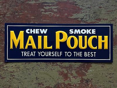 Vintage Mail Pouch Tobacco Embossed Tin Door Push Advertising Sign New Old Stock