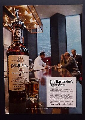 1968 Vintage Print Ad | SEAGRAM'S WHISKEY | 1960s Bartender Fancy Bar Classy
