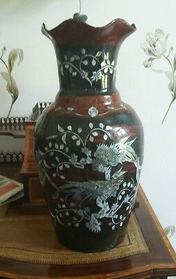 Antique Oriental Asian Art Japanese Laqured Pape Mache Vase Mother of Pearl