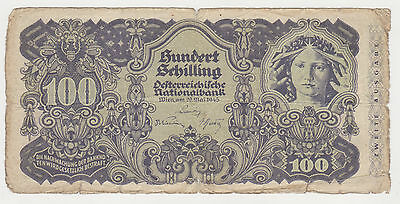 AUSTRIA 100 shilling 1945 (1947) VG second issue ZWEITE AUSGABE very rare P.119