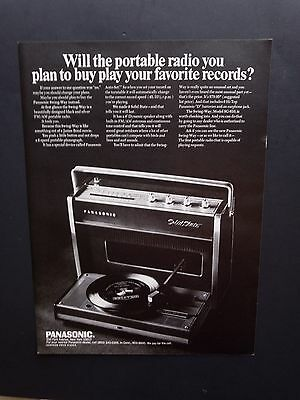 1968 Vintage Print Ad | PANASONIC PORTABLE RECORD PLAYER | 1960s