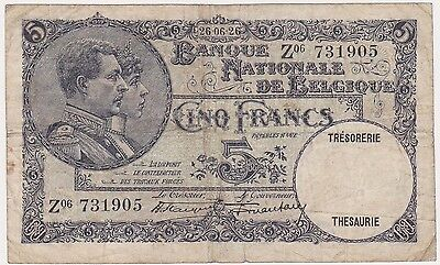 BELGIUM 5 francs 26 june 1926 VF- key date sign Hautain Stacquet RARE P.97a