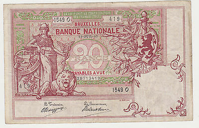 BELGIUM 20 francs 14 july 1910 VF early date P.67