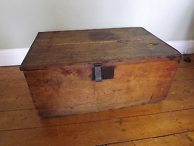Wooden trunk chest vintage French storage box ideal coffee table