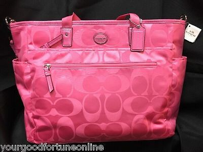 NEW Coach Pink Signature Nylon Multifunction Diaper Baby Tote Bag  77577 Weekend