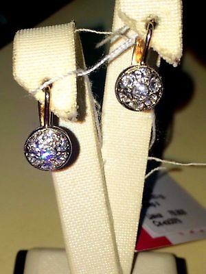 Vintage 14K 583 ROSE GOLD Russian Soviet USSR earrings diamonds