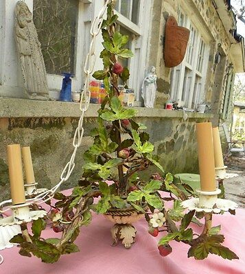 Vintage Tole Chandelier~Strawberry Plants~Flowers Leaves~5 Light~Rare