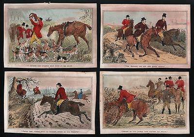 4x Hand Coloured SPORTING PRINTS c1900 FOX HUNTING