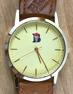 Vintage Braum's Ice Cream Restaurant Gold Toned Wristwatch Leather Band Working
