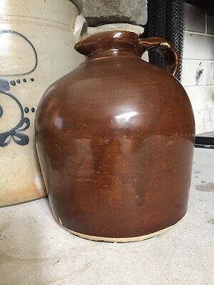 Antique Brown Slip Glaze Spout Jug - Vintage Stoneware Pottery