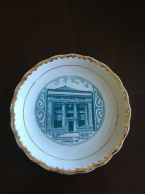 Antique Carnation McNicol Plate, First National Bank Towanda PA, 100yrs old?