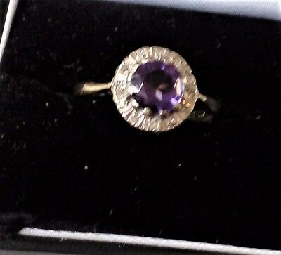 Vintage 18 ct Gold &  Diamond & 1  Stone  Amethyst Ring