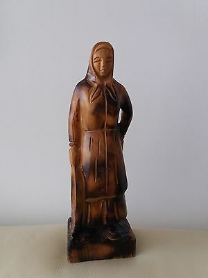 Wood  Carved /  Turned  Tall  Figure  Of  Woman   -  Date  Unknown