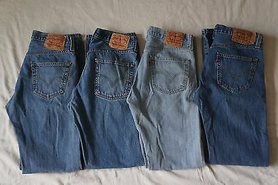 Lot 4 Pairs Levis 501 Button Fly Jeans, Mens 32x34 (Approx 32x33)