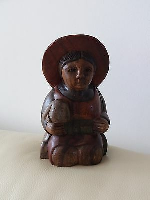 Wood  Carved /  Turned    Figure  Of Kneeling   Woman  With  Animal   -