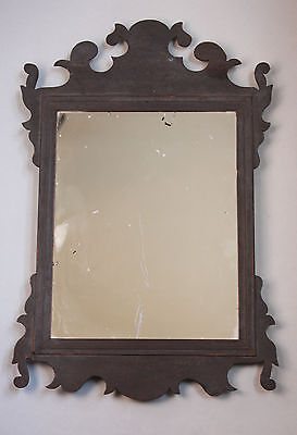 C1785-1820 Small Chippendale Period Looking Glass In Fine Original Black Paint