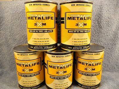 Metalife 3 X M 1 Quart Metal Sealed Empty Oil Can (Lot Of 5 Vintage Cans)