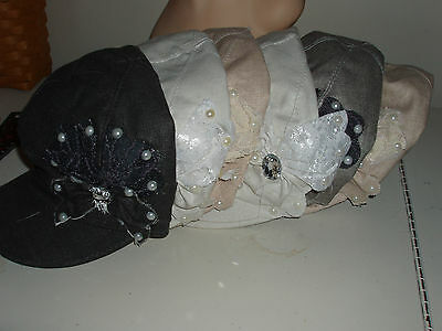 Wholesale lot of 6 Newsboy brimmed hats Assorted twill with gem butterfly
