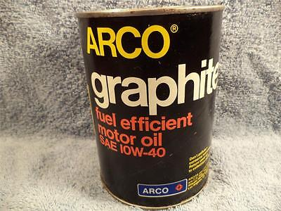 Arco Graphite 1 Quart Motor Oil Can Nice Can Bottom Opened Empty.
