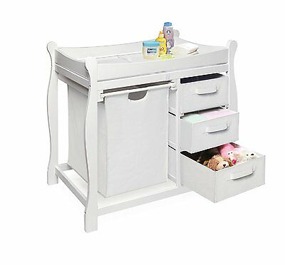 Baby Furniture Changing Table Badger Basket White Sleigh Style Hamper 3 Baskets