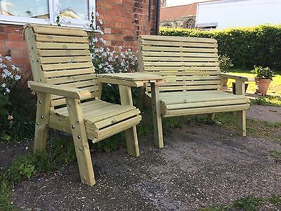 Wooden Trio set Connecting Chair bench Jack And Jill Seat Garden Furniture