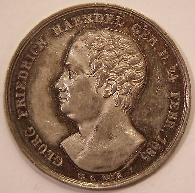 Circa 1850 George Frideric Handel Composer Medal by Voigt Silver RARE!