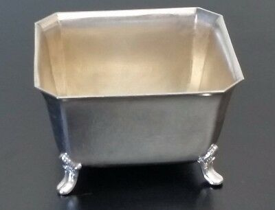 Vintage Small Silver Plated Footed Rectangle Trinket Dish
