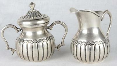 "Large 900 (almost) ""Sterling"" Silver Romana Admana Creamer + Covered Sugar Bowl"
