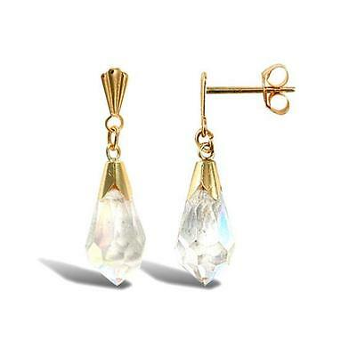 New Hallmarked 9ct Gold Austrian Crystal Aurora Borealis 2cm Drop Earrings