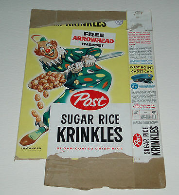 Vintage 1950's Post Rice Krinkles Cereal Box w Indian Arrowhead offer & Clown