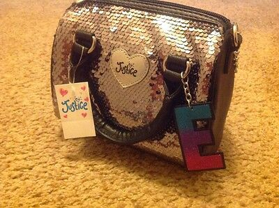 New Justice girl's bag/purse, silver sequins, initial E charm