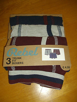 Rebel ~ Pack Of 3 Trunk Fit Boxers ~ 2-3 Years