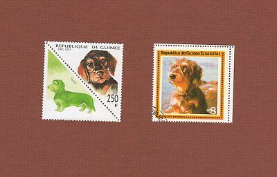 Wirehaired Dachshund dog stamps set of 2