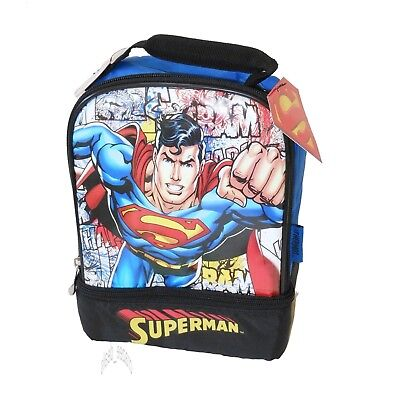 Superman Thermos Insulated Lunch Bag Box Dual Compartment NEW