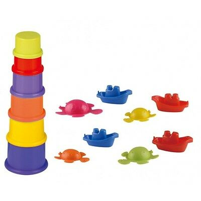 14Pc Bath Boat Playset  Bath Toys Linking Turtles Stacking Cups New