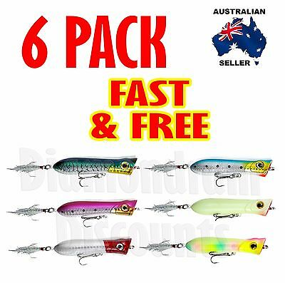 6X Fishing Lures Hardbody 80Mm Whiting Popper Bream Flathead Poppers Topwater